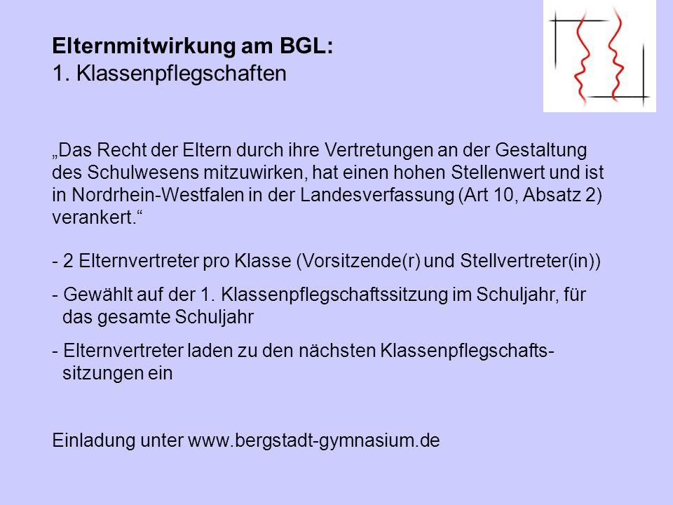 Elternmitwirkung am BGL: 1. Klassenpflegschaften