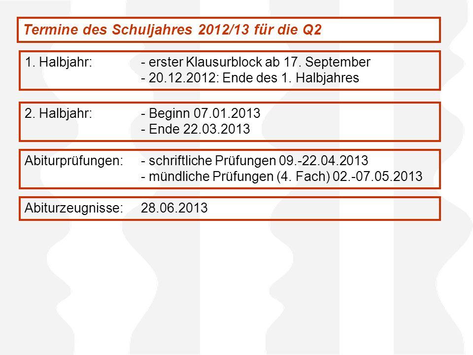 Termine des Schuljahres 2012/13 für die Q2