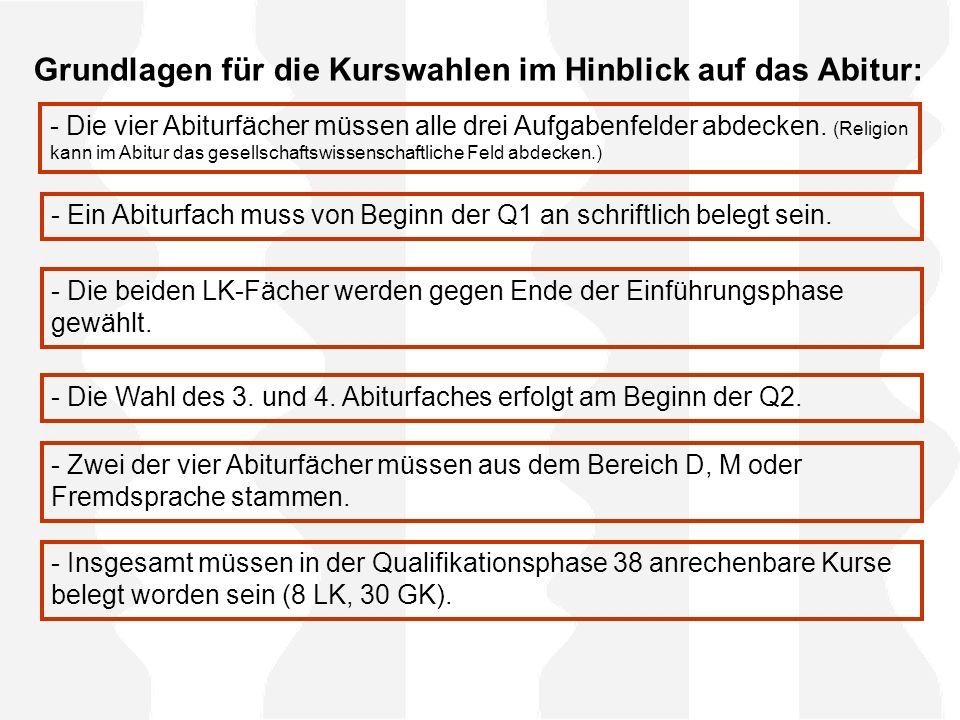 Grundlagen für die Kurswahlen im Hinblick auf das Abitur: