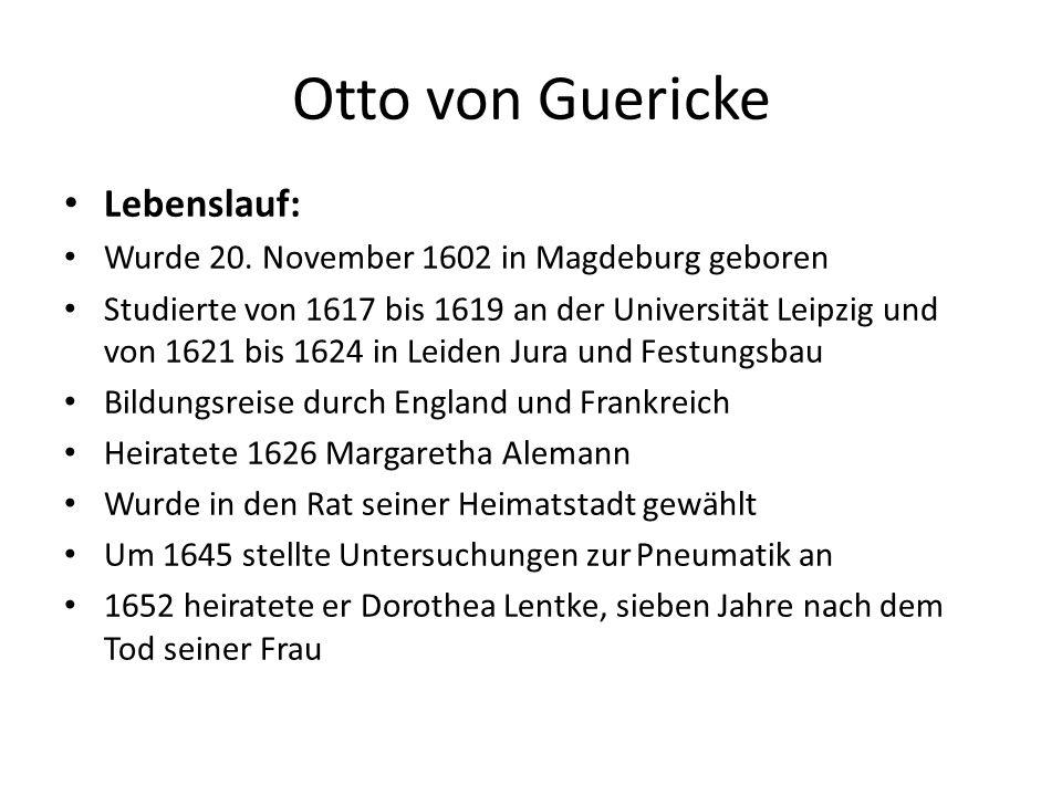 Otto von Guericke Lebenslauf: