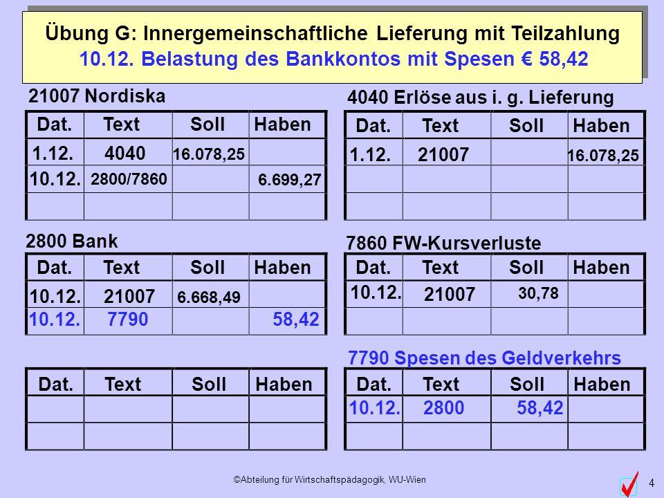 10.12. Belastung des Bankkontos mit Spesen € 58,42