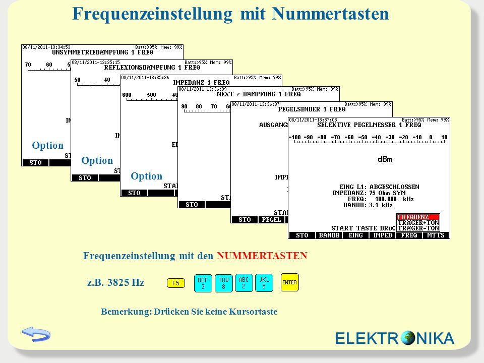 Frequenzeinstellung mit Nummertasten