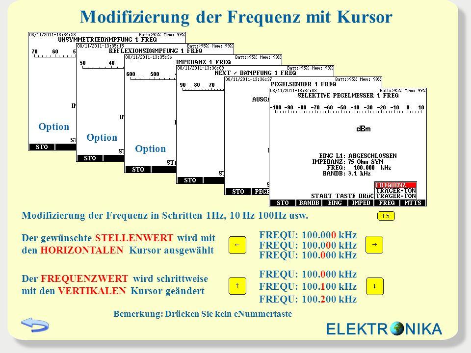 Modifizierung der Frequenz mit Kursor
