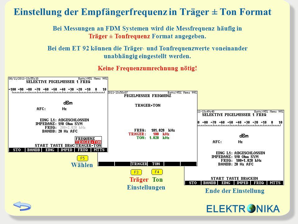 Einstellung der Empfängerfrequenz in Träger ± Ton Format