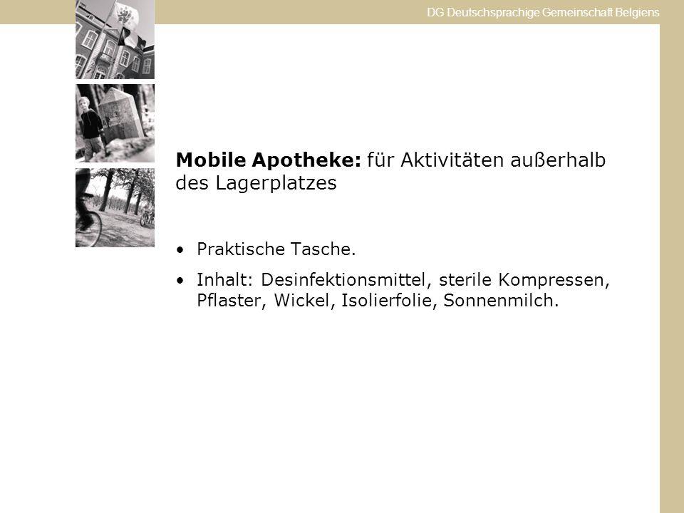 Mobile Apotheke: für Aktivitäten außerhalb des Lagerplatzes