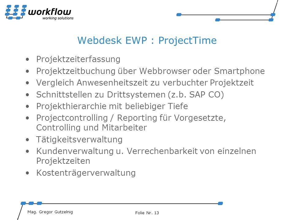 Webdesk EWP : ProjectTime
