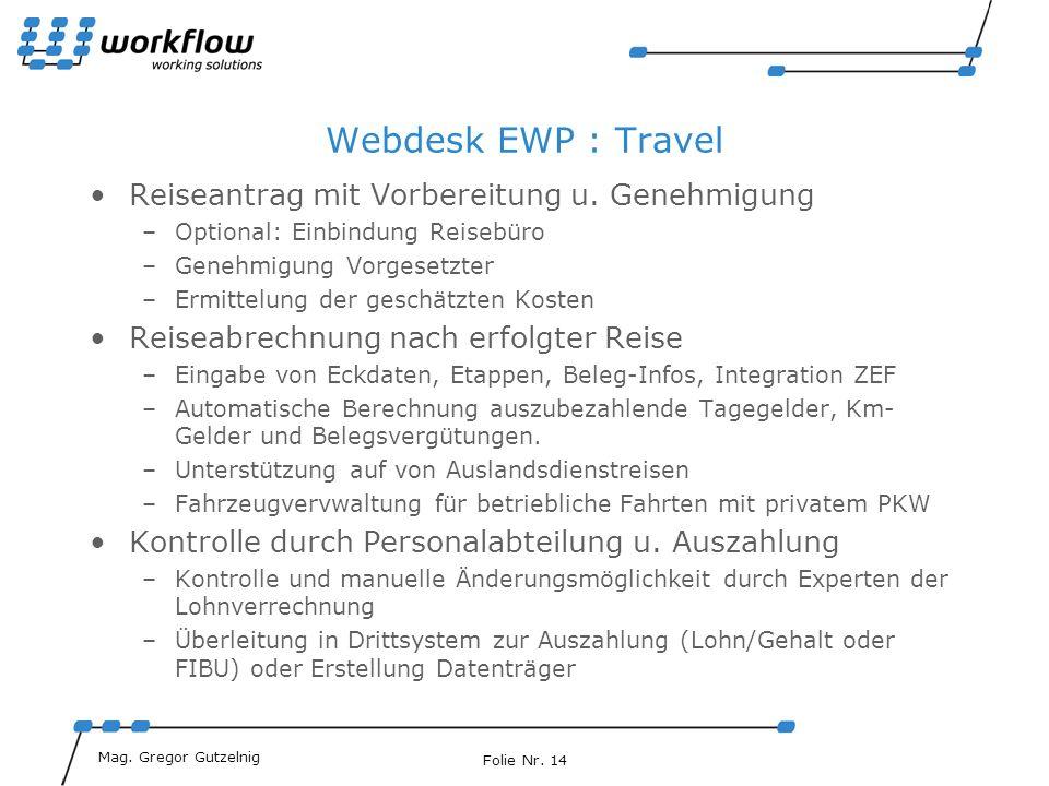 Webdesk EWP : Travel Reiseantrag mit Vorbereitung u. Genehmigung