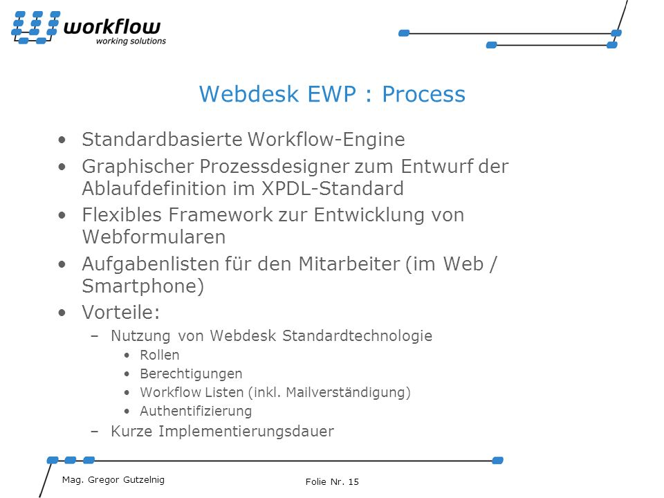 Webdesk EWP : Process Standardbasierte Workflow-Engine