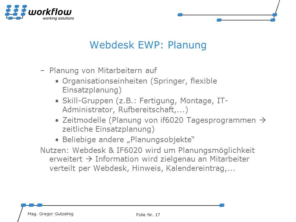 Webdesk EWP: Planung Planung von Mitarbeitern auf
