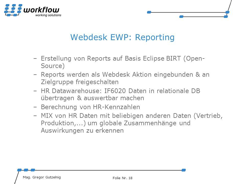 Webdesk EWP: Reporting