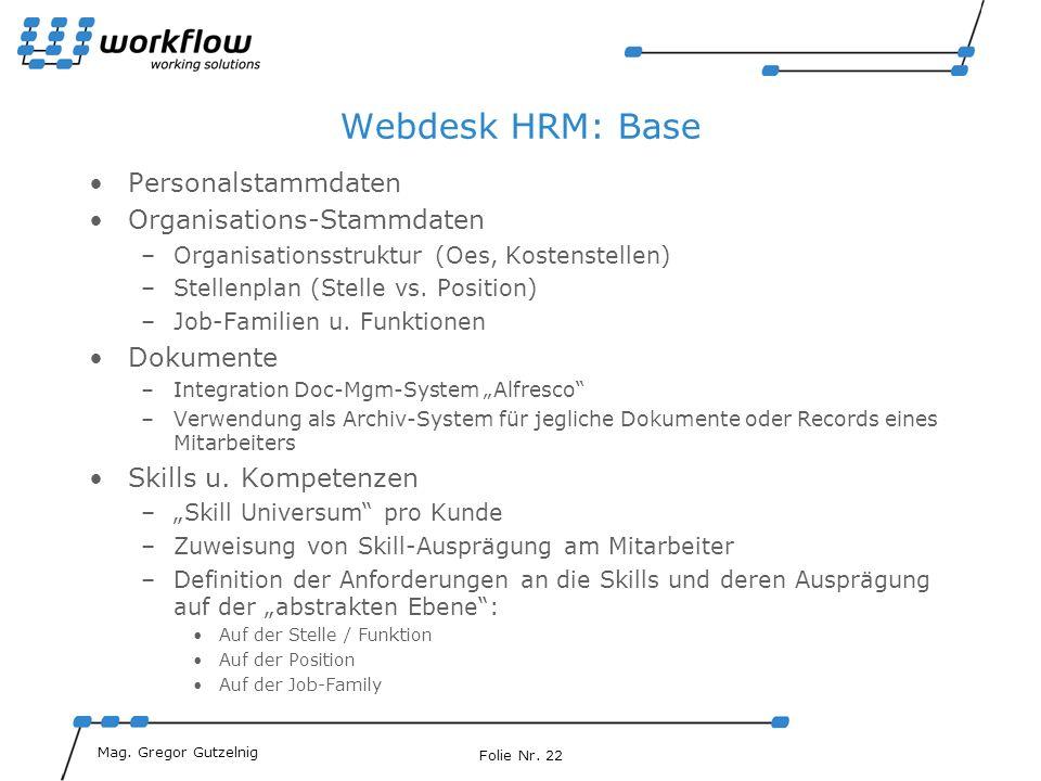 Webdesk HRM: Base Personalstammdaten Organisations-Stammdaten