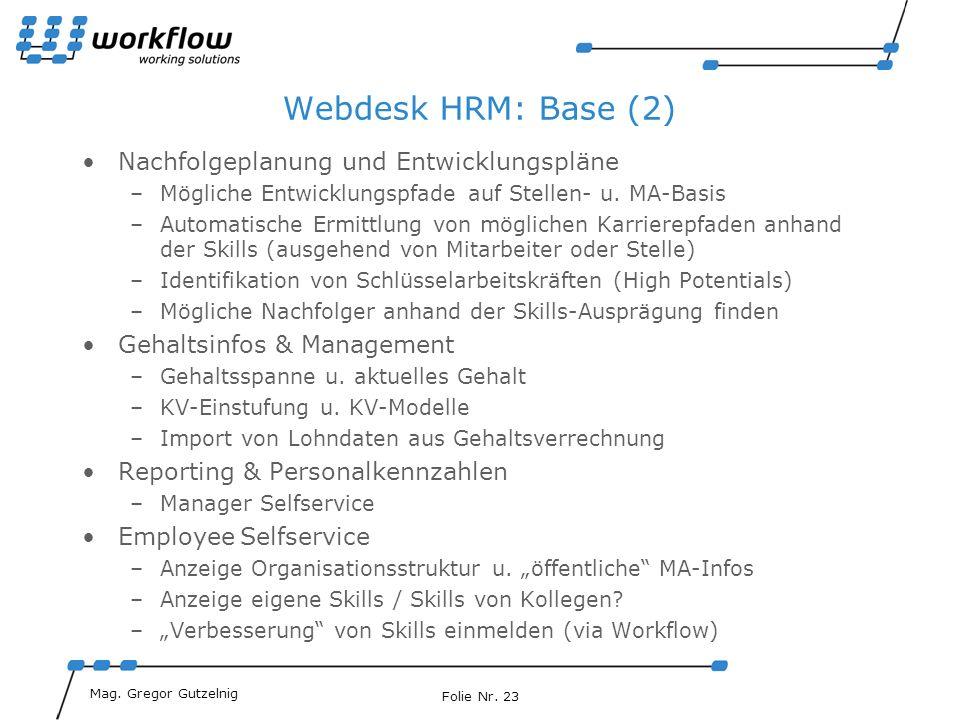 Webdesk HRM: Base (2) Nachfolgeplanung und Entwicklungspläne