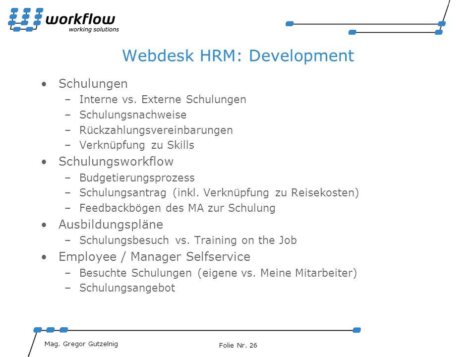 Webdesk HRM: Development