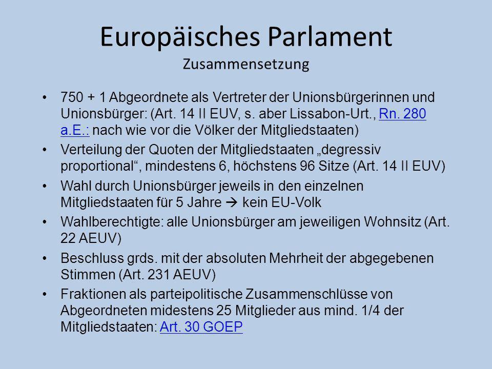 Europäisches Parlament Zusammensetzung