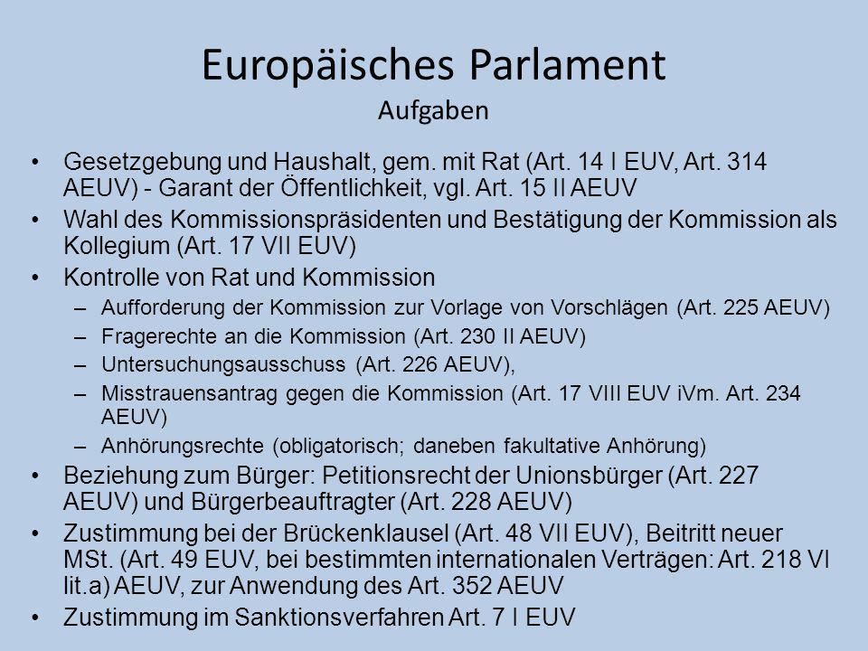 Europäisches Parlament Aufgaben