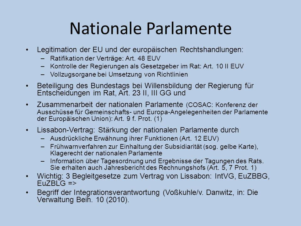 Nationale Parlamente Legitimation der EU und der europäischen Rechtshandlungen: Ratifikation der Verträge: Art. 48 EUV.