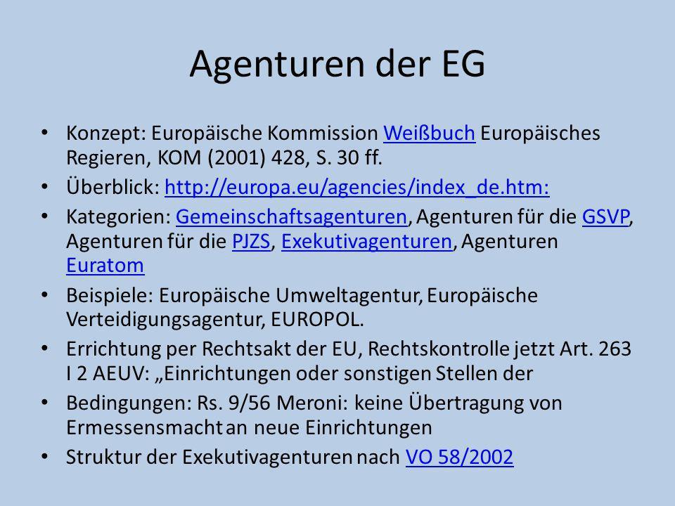 Agenturen der EG Konzept: Europäische Kommission Weißbuch Europäisches Regieren, KOM (2001) 428, S. 30 ff.