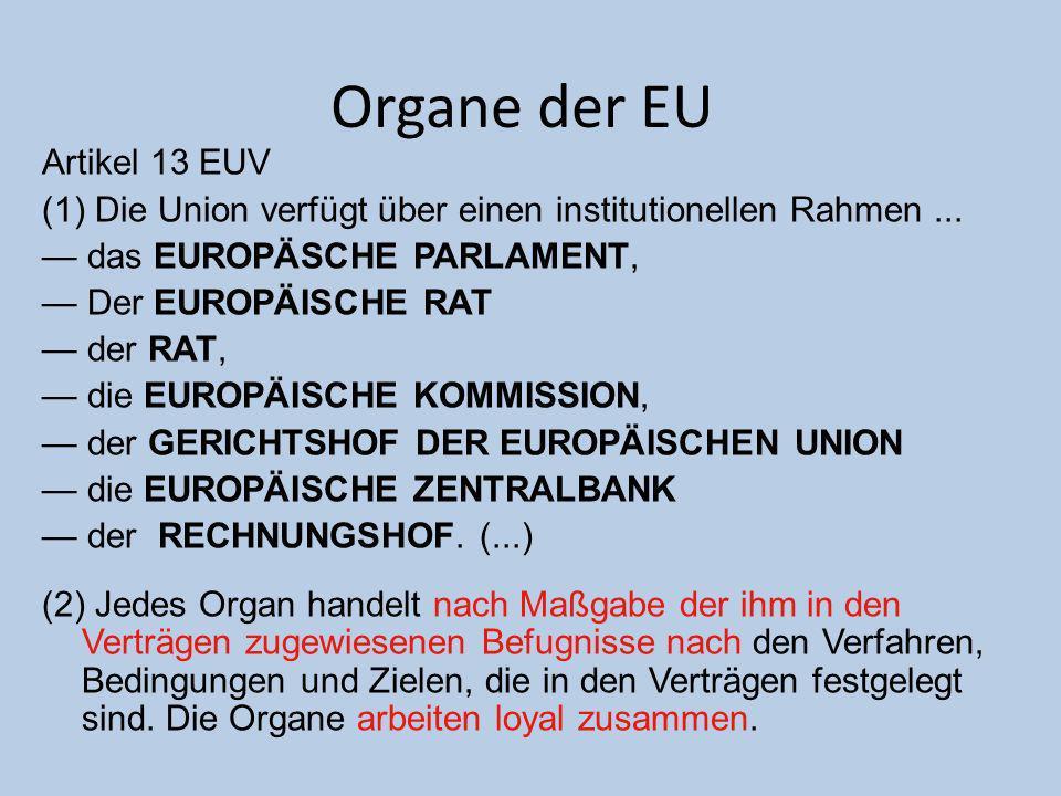 Organe der EU Artikel 13 EUV
