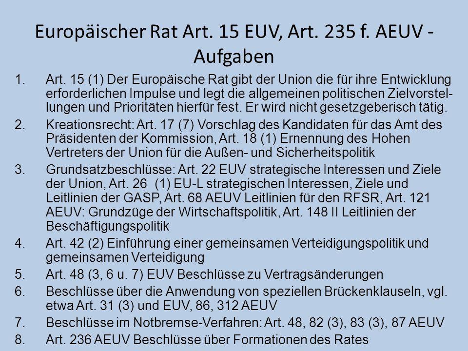 Europäischer Rat Art. 15 EUV, Art. 235 f. AEUV - Aufgaben