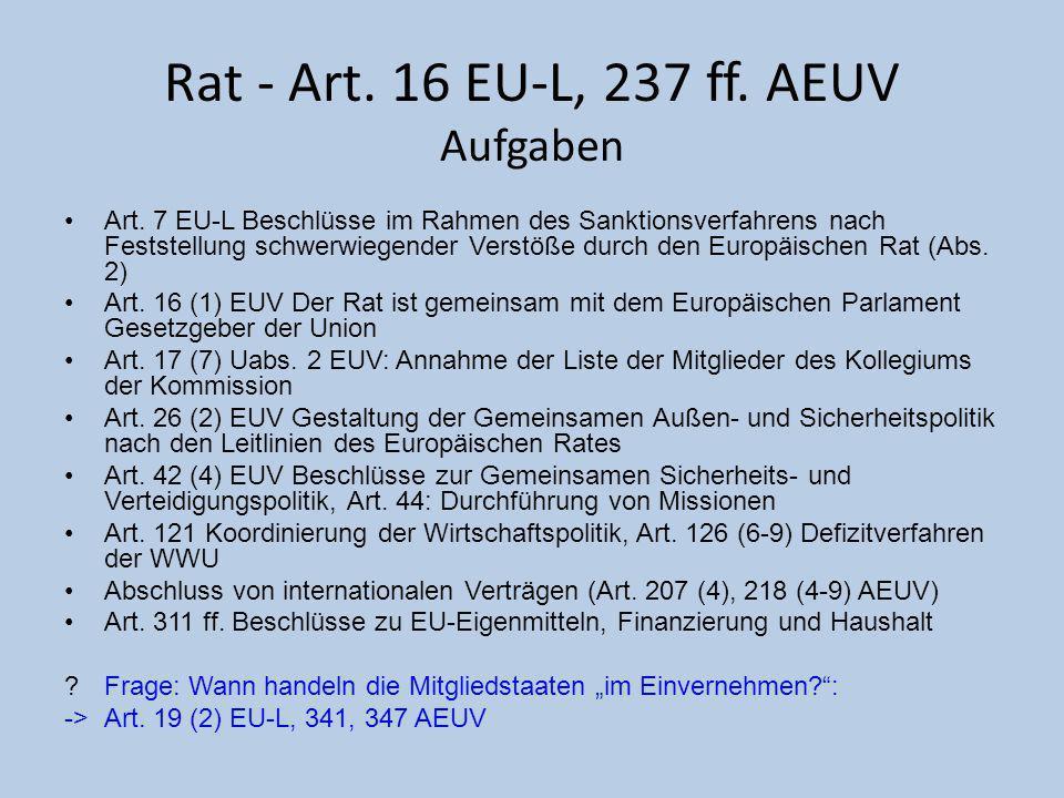 Rat - Art. 16 EU-L, 237 ff. AEUV Aufgaben