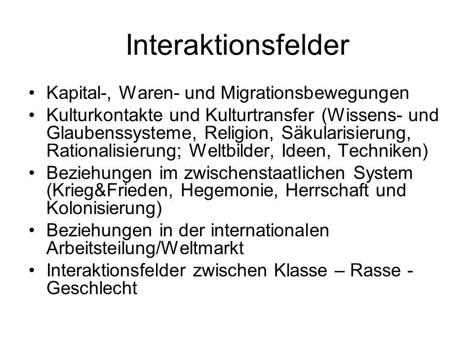 Interaktionsfelder Kapital-, Waren- und Migrationsbewegungen