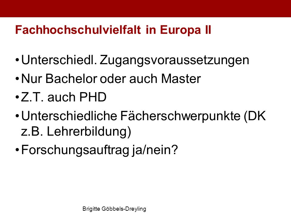 Fachhochschulvielfalt in Europa II