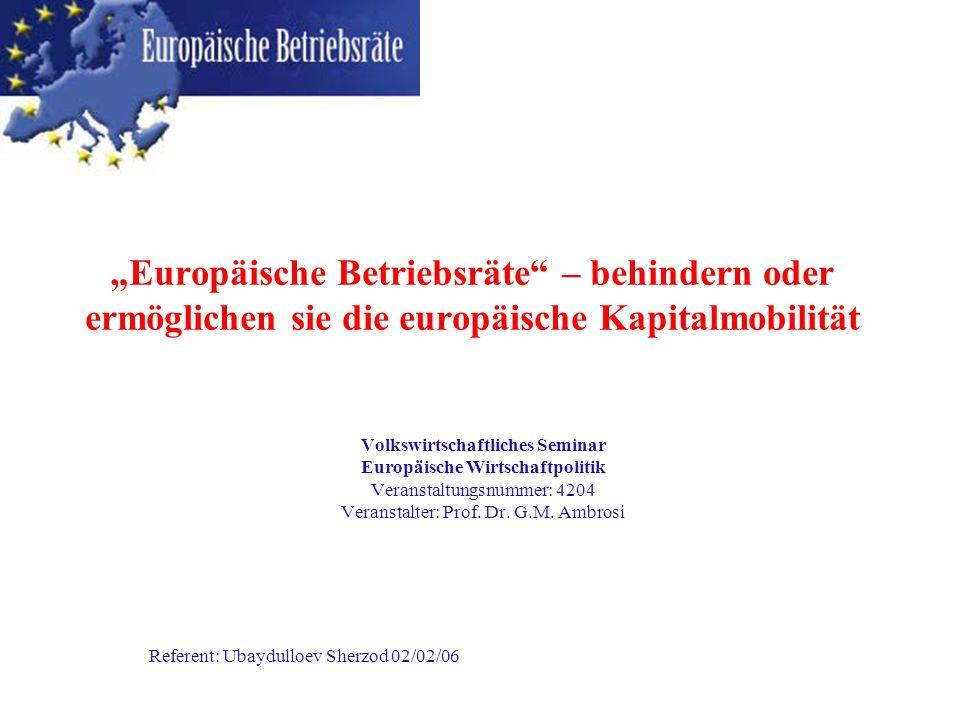 """""""Europäische Betriebsräte – behindern oder ermöglichen sie die europäische Kapitalmobilität"""