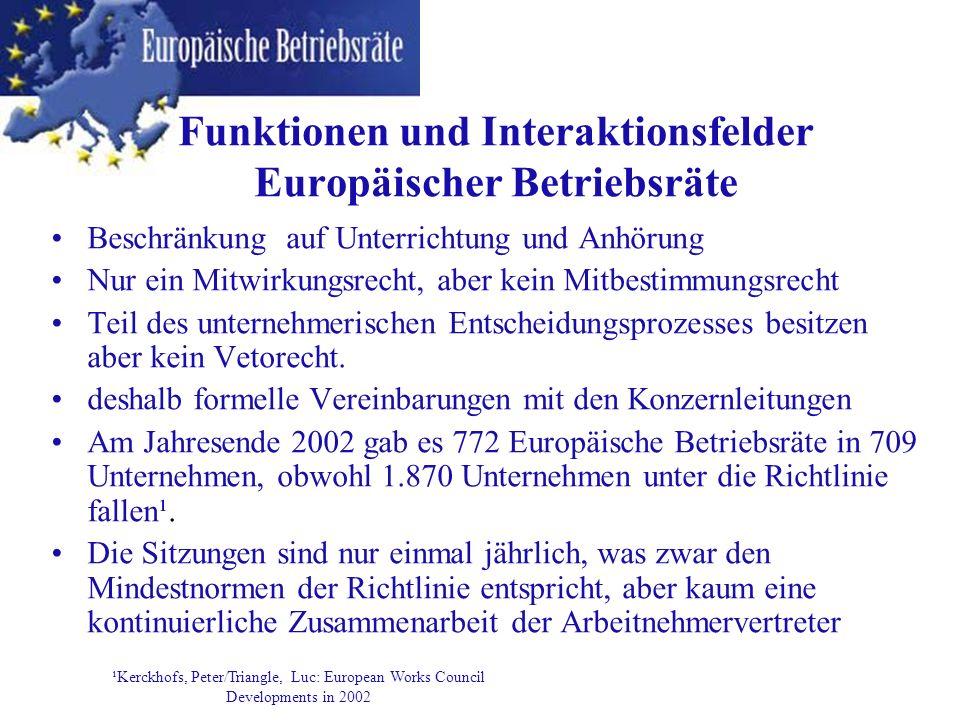 Funktionen und Interaktionsfelder Europäischer Betriebsräte