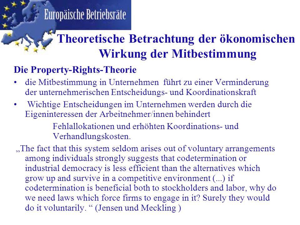 Theoretische Betrachtung der ökonomischen Wirkung der Mitbestimmung