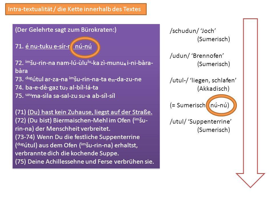 Intra-textualität / die Kette innerhalb des Textes