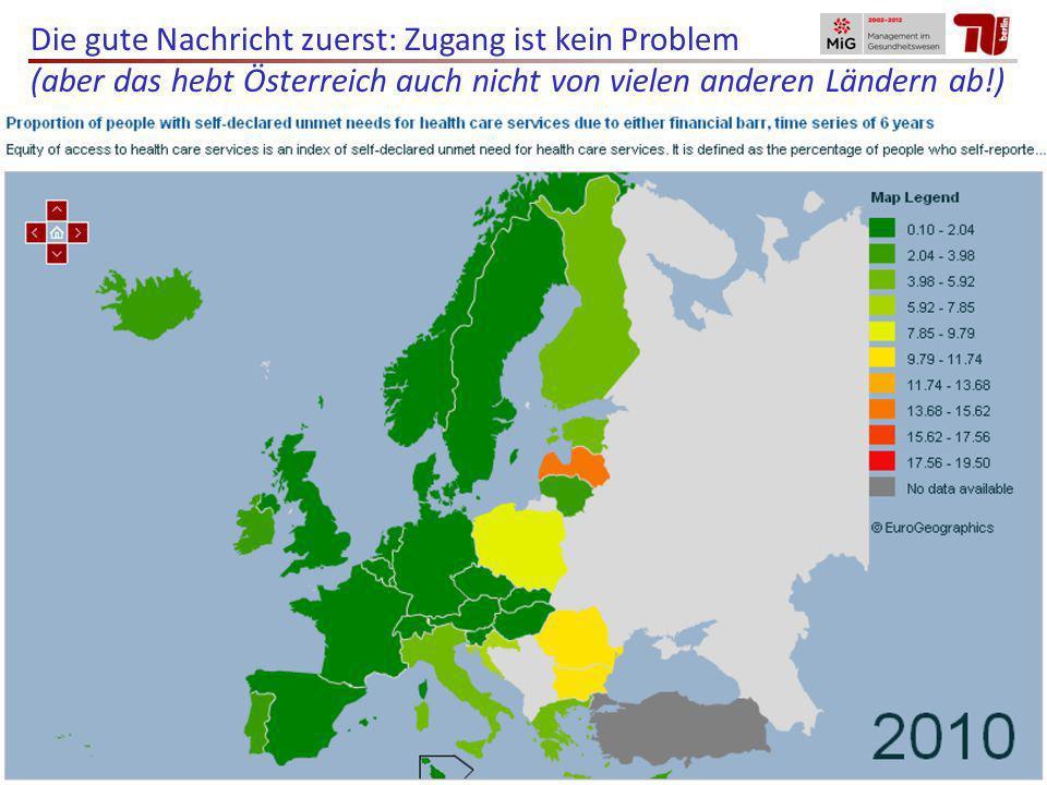 Die gute Nachricht zuerst: Zugang ist kein Problem (aber das hebt Österreich auch nicht von vielen anderen Ländern ab!)