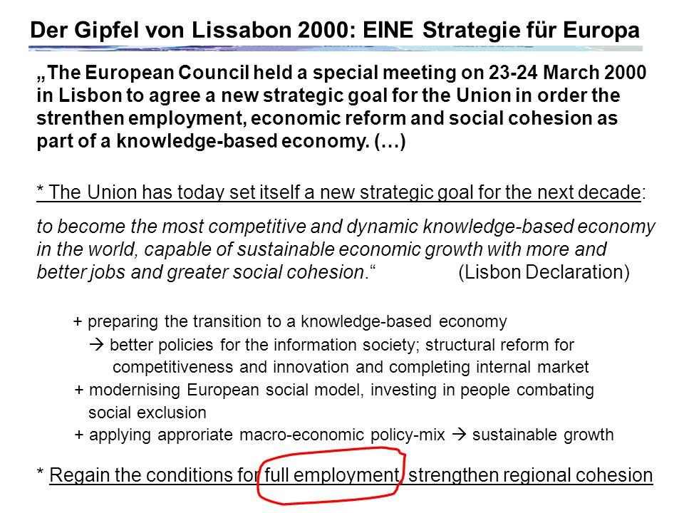 Der Gipfel von Lissabon 2000: EINE Strategie für Europa