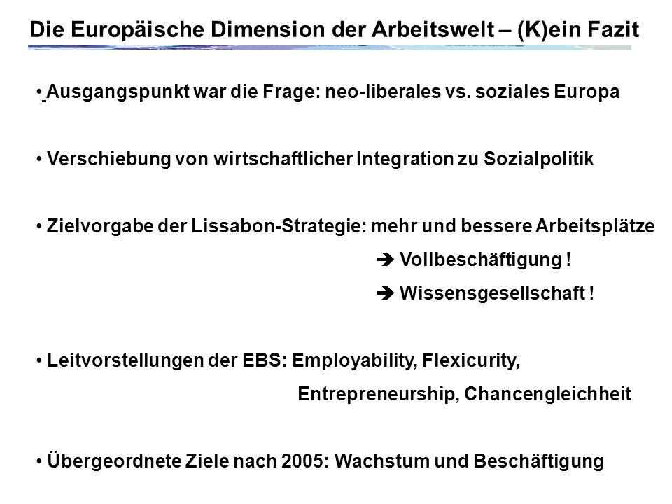 Die Europäische Dimension der Arbeitswelt – (K)ein Fazit