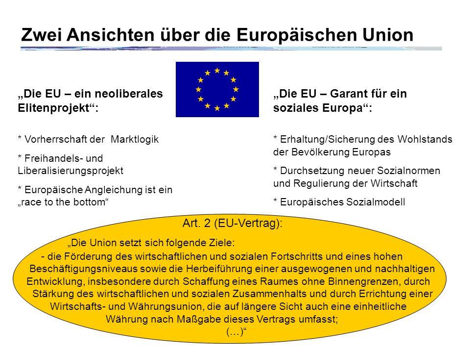 Zwei Ansichten über die Europäischen Union
