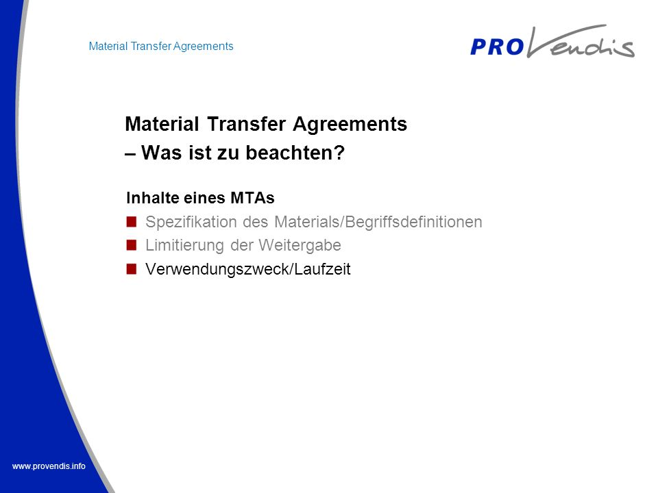 Material Transfer Agreements – Was ist zu beachten