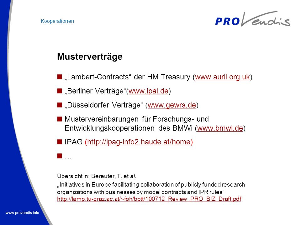 "Musterverträge ""Lambert-Contracts der HM Treasury ("