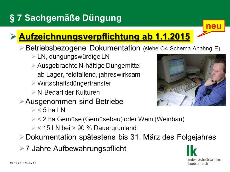 Aufzeichnungsverpflichtung ab 1.1.2015