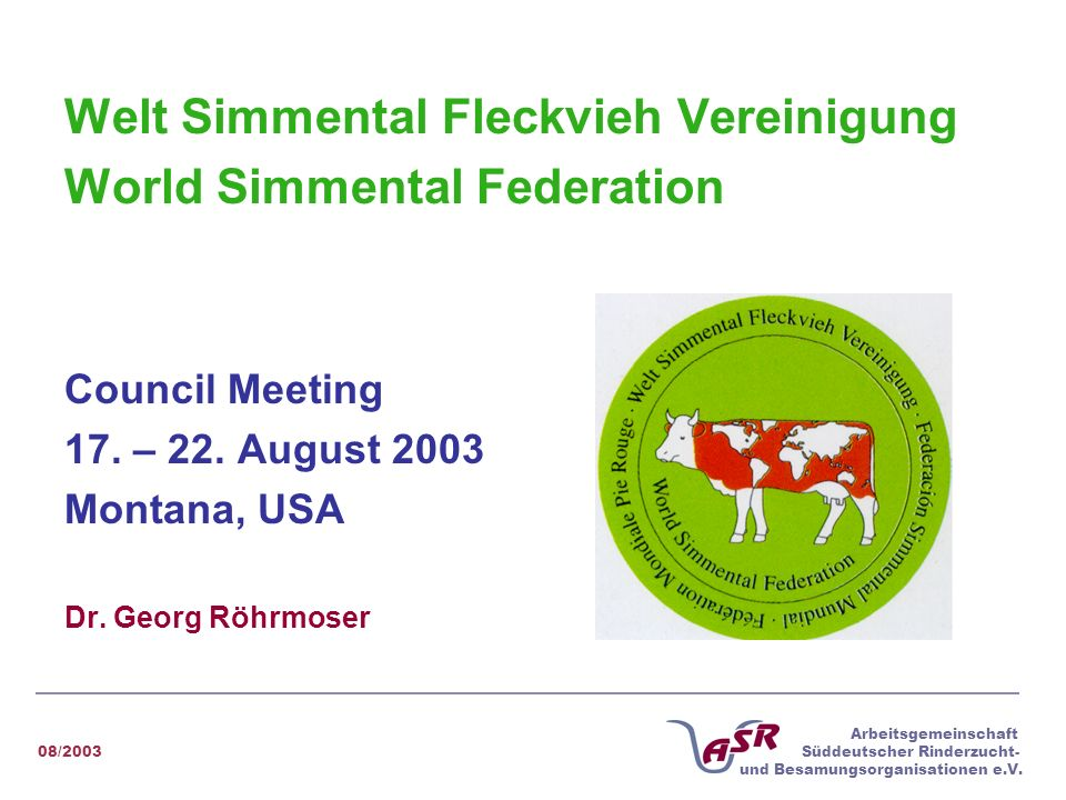 Welt Simmental Fleckvieh Vereinigung World Simmental Federation