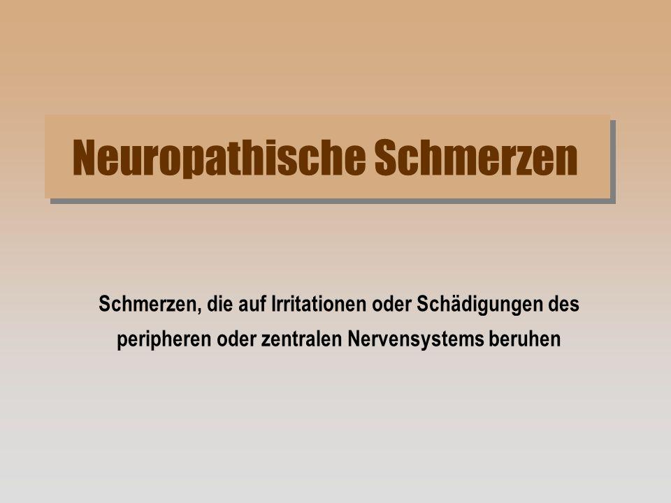 Neuropathische Schmerzen Schmerzen, die auf Irritationen oder Schädigungen des peripheren oder zentralen Nervensystems beruhen