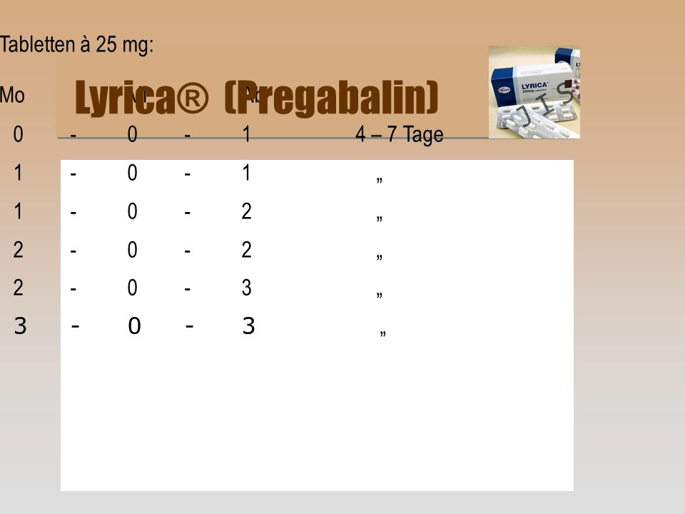 Lyrica® (Pregabalin) Tabletten à 25 mg: Mo Mi Ab 1 - 0 - 1 ""