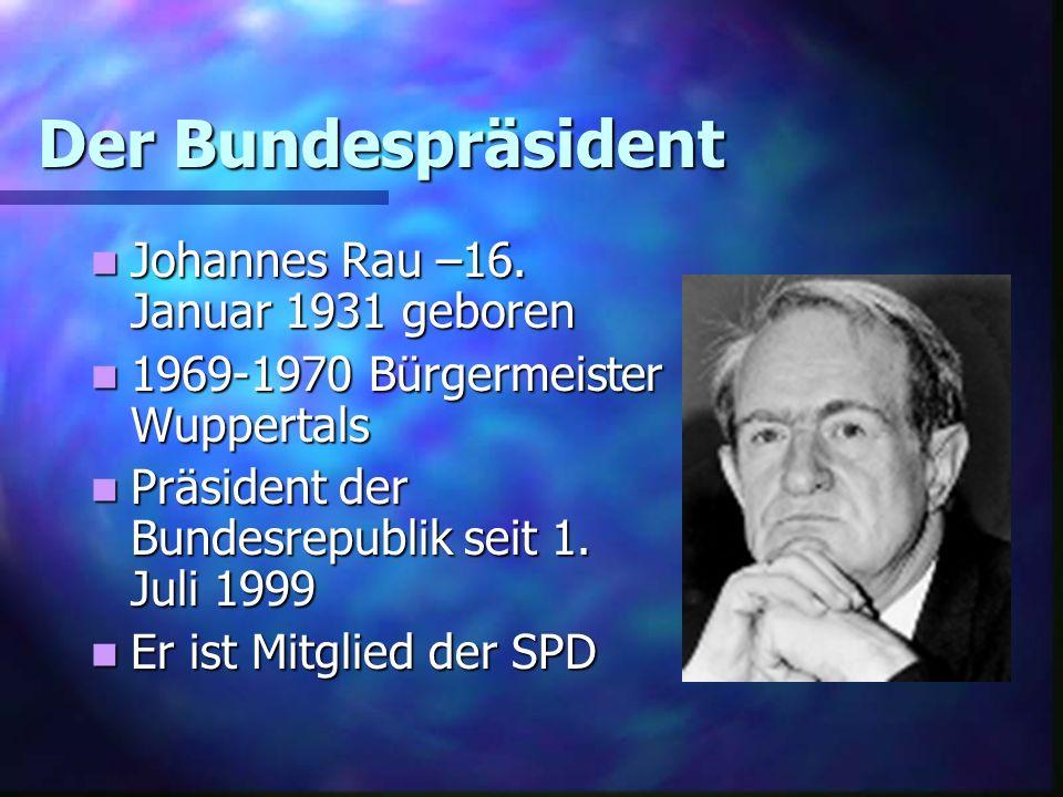 Der Bundespräsident Johannes Rau –16. Januar 1931 geboren