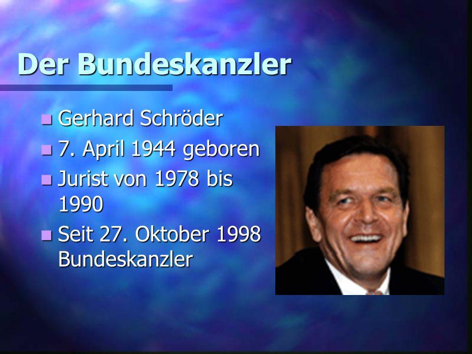 Der Bundeskanzler Gerhard Schröder 7. April 1944 geboren