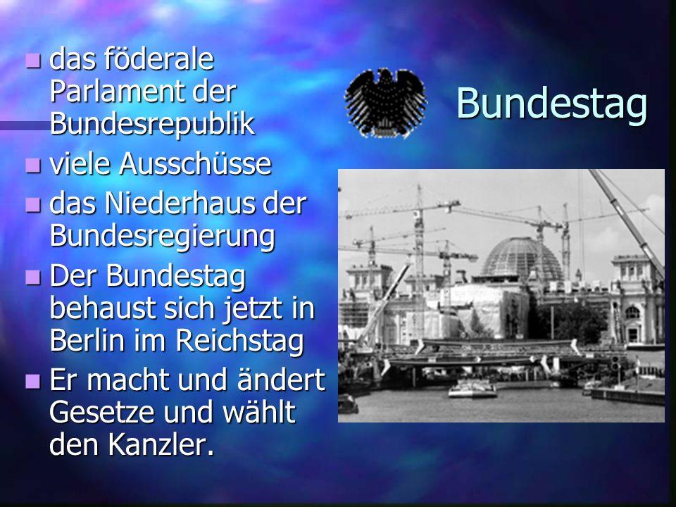Bundestag das föderale Parlament der Bundesrepublik viele Ausschüsse