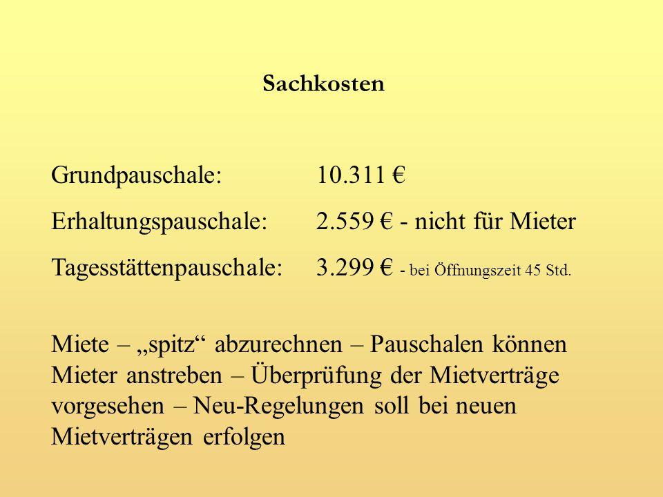Sachkosten Grundpauschale: 10.311 € Erhaltungspauschale: 2.559 € - nicht für Mieter. Tagesstättenpauschale: 3.299 € - bei Öffnungszeit 45 Std.