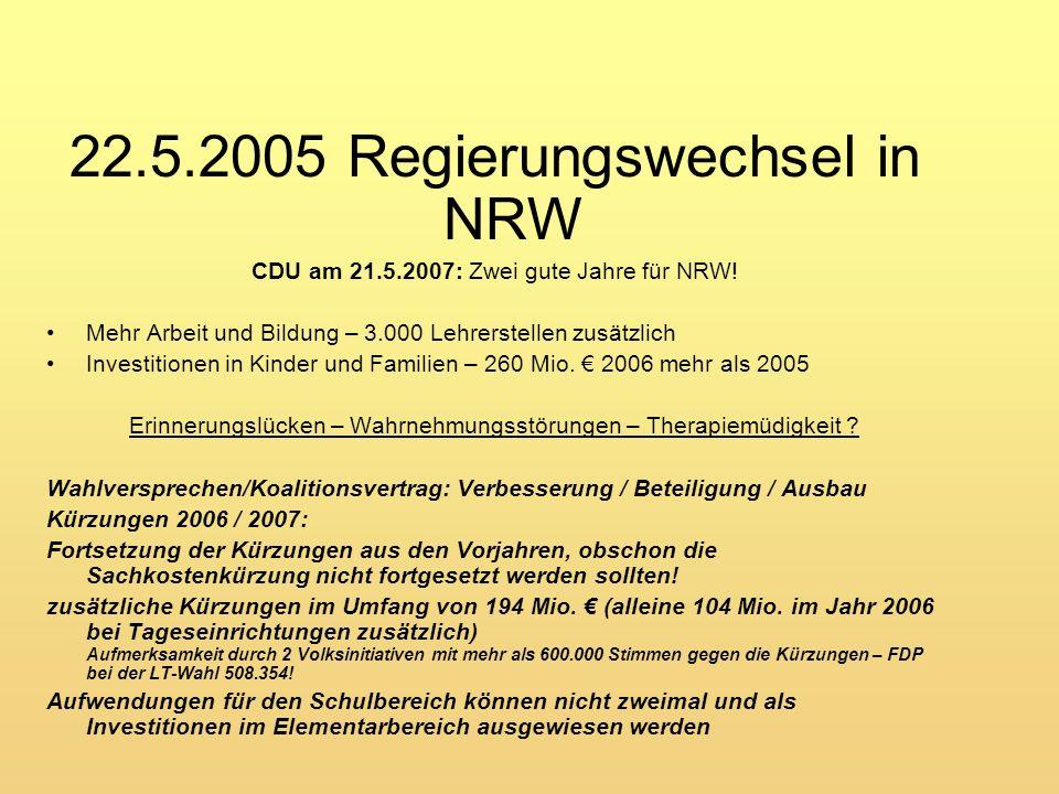 22.5.2005 Regierungswechsel in NRW