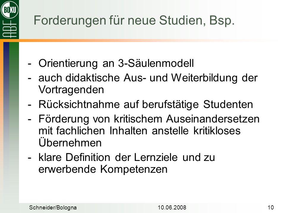 Forderungen für neue Studien, Bsp.
