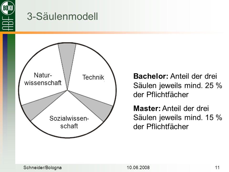 3-Säulenmodell Natur-wissenschaft. Bachelor: Anteil der drei Säulen jeweils mind. 25 % der Pflichtfächer.