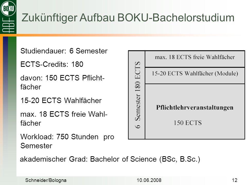 Zukünftiger Aufbau BOKU-Bachelorstudium