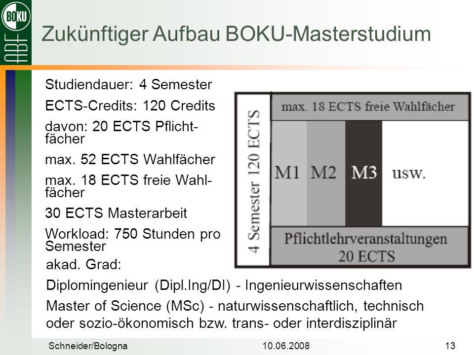 Zukünftiger Aufbau BOKU-Masterstudium