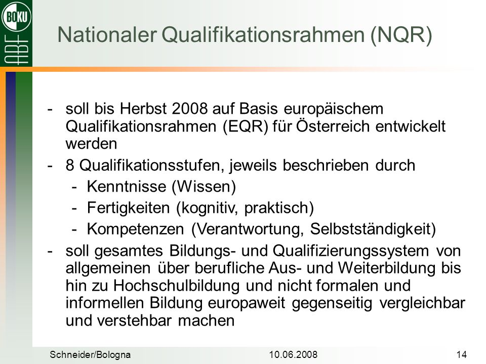 Nationaler Qualifikationsrahmen (NQR)
